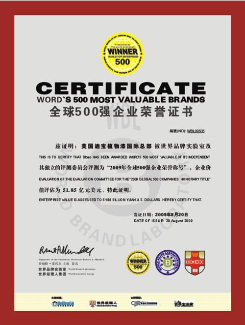 全球500强企业荣誉证书