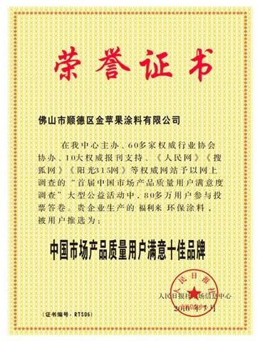 中国市场产品质量用户满意十佳品牌